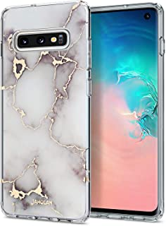 JAHOLAN Galaxy S10E Case 3D Design Shiny Gold Vein White Marble Reinforced Clear Bumper Hybrid Cushion Scratch Resistant Shockproof Hard Back Cover Phone Case for Samsung Galaxy S10e