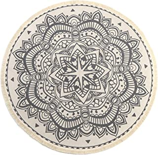 LEEVAN Round Area Rug,Hand Woven Cream Chic Bohemian Mandala Print Tassels Door Mat,Indoor Floor Area Mat Compatible Bedroom,Living Room,Children Playroom,Black, 4' Diameter
