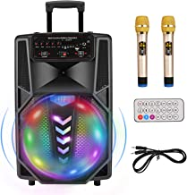 """Portable Karaoke Machine, 12"""" Subwoofer Bluetooth Wireless PA Speaker System with Rechargeable Battery Powered 2 wireless ..."""