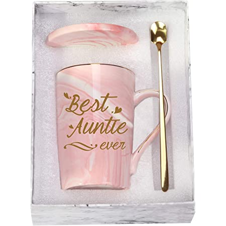 Best Auntie Ever Mug Best Aunt Ever Mug Gifts Best Auntie Ever Coffee Mug Auntie Coffee Mug Birthday Mothers Day Gifts for Auntie Aunt from Nephew Niece 14 Ounce Pink with Gift Box Spoon Coaster
