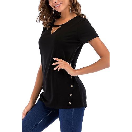 e957394b16e523 NICIAS Womens Side Buttons Short Sleeve Casual Crew Neck Slim T-Shirt Tops  Blouse