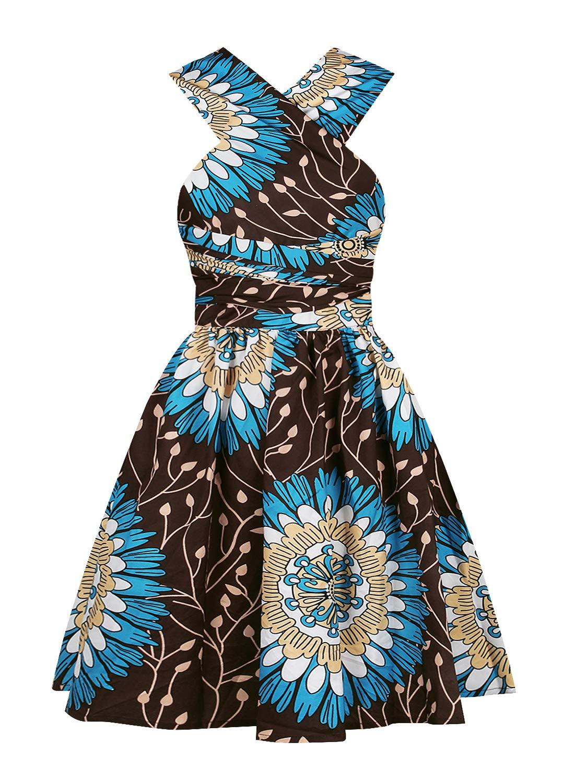 Available at Amazon: Vimoisa Women Sexy Boho African Dress Long Maxi Dress V-Neck Multi-Way Dress Pleated Dress Floral Print
