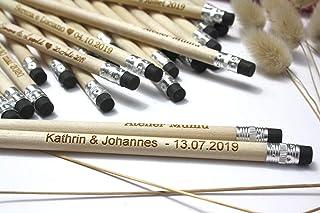 Matita con testo personalizzato, gruppo x50 matite, regalo di nozze per gli ospiti, gomma nera, per matrimonio