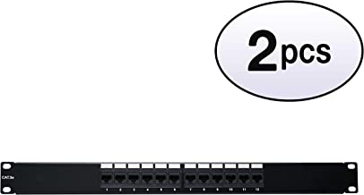 GOWOS (2 Pack) Rackmount 12 Port Cat5e Patch Panel, 12 Port, Horizontal, 110 Type, 568A & 568B Compatible, 1U