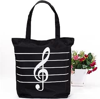 Sound Harbor MG-345 Music Symbols Print Canvas Tote Handbag Shoulder Shopping Bags(Black -High notes)