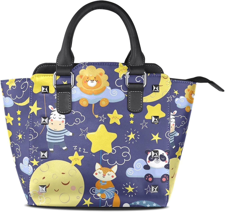 My Little Nest Women's Top Handle Satchel Handbag Cute Sleeping Animals and Moons Stars Ladies PU Leather Shoulder Bag Crossbody Bag