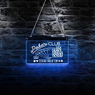 Poker Club Game Room LED Hanging Wall Sign Plaque Texas Hold'em Chips and Poker Gambling Acrylic Board LED Lighting Neon Signage LED Wall Hanging Board