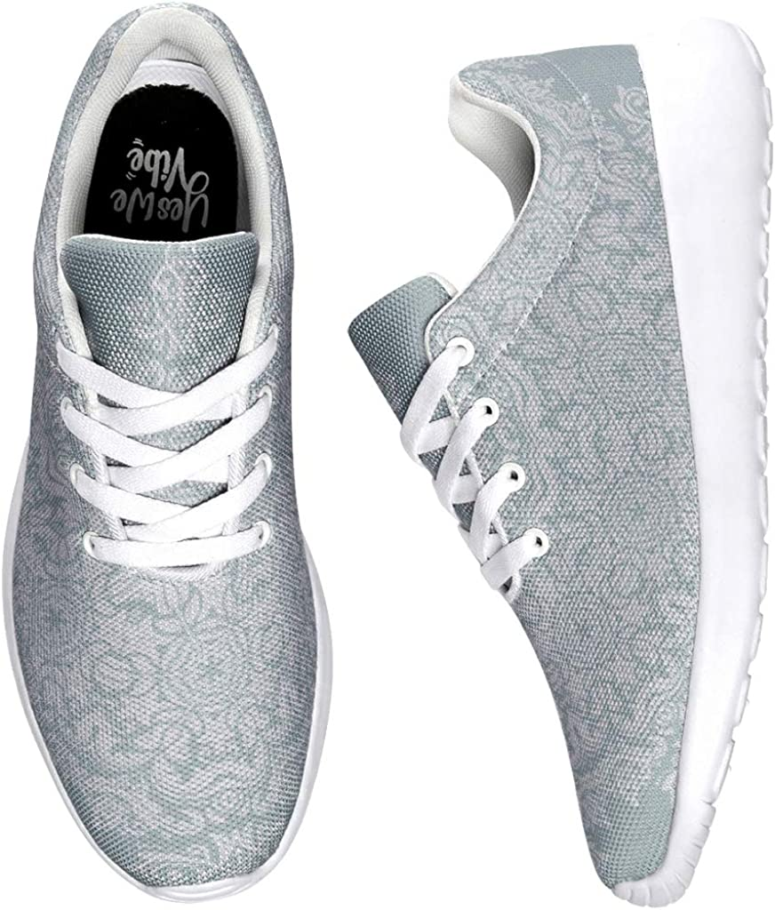 Women's Men's Running Shoes Pale Turquoise Mandala Design Sneakers Fashion Street Running Shoes Hiking Shoes Trainers Sports Shoes White