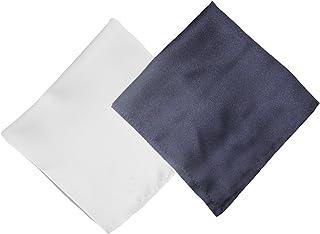 tessago 2 Pochette da taschino per giacca/abito pl 100 colore unito bianco e unito blu mis 30 x 30 Collezione Made in Italy