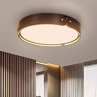 ZMH Lámpara de techo LED de madera para salón lámpara de salón redonda de madera de nogal 26W Ø42CM 2080 lúmenes 3000K lámpara de madera redonda de luz blanca cálida para salón, dormitorio, comedor