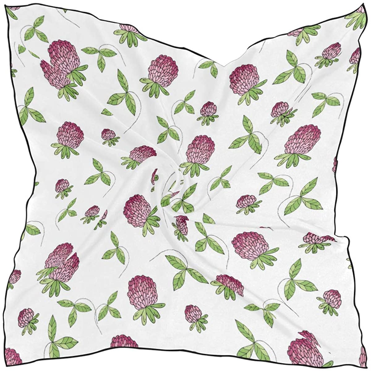 Women's Soft Polyester Silk Square Scarf Spring Garden Wildflowers And Clover Modern Floral Themed Graphics Retro Fashion Print Head & Hair Scarf Neckerchief Accessory-23.6x23.6 Inch
