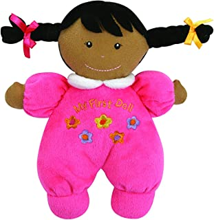 Stephan Baby Ultra Soft Plush My First Doll with Dark Complexion and Black Hair, Hot Pink