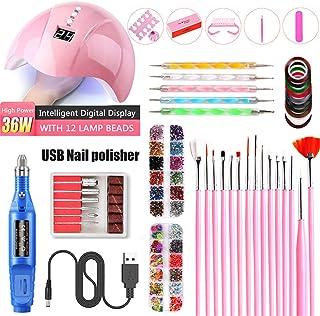 Nail Art Set 36W UV LED LAMP Dryer Polish Set Electric Nail Drill Nail Art Tools Manicure UV Extension Kit,Blue