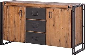 Meubletmoi Workshop - Aparador vintage, tablero de madera maciza y estructura de metal, con 2puertas y 3cajones, 180cmde longitud