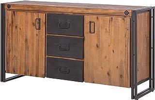 Meubletmoi Buffet Vintage/Plateau en Bois Massif & Structure métal / 2 Portes & 3 tiroirs / L180cm – Collection Workshop