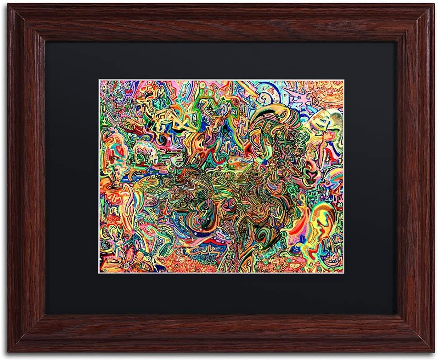 Trademark Fine Art Do Electric Sheep Dream of Androids by Josh Byer Wall Art Black Matte, Wood Frame 11x14