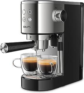 KRUPS Virtuoso ekspres do kawy ze stali nierdzewnej automatyczny, kompaktowy, 2 kubki, dysza parowa do cappuccino i gorące...