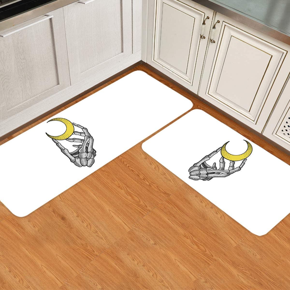 BABE MAPS Skeleton Hand Directly managed store Holding Moon Rug Set of Kitchen Floor 2 latest