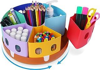 Gamenote Rotating Art Supply Organizer - Lazy Susan Office School Supplies for Kids Desk Organizers and Storage Homeschool Craft Caddy سازماندهی کلاس درس