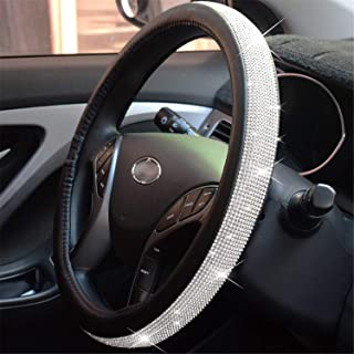 Diamond Leather Steering Wheel Cover with Bling Bling Crystal Rhinestones, Universal Fit 15 Inch Anti-Slip Wheel Protector