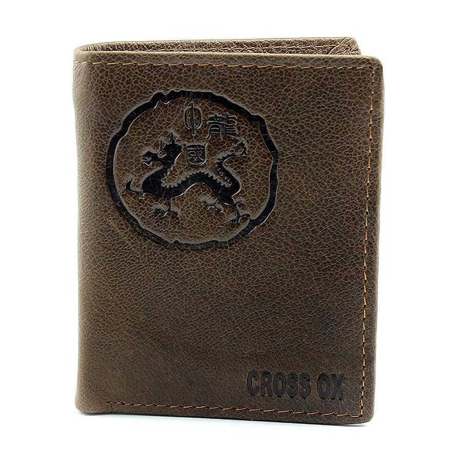 荒らす腐敗ケージ新しい本革バッファローレザーメンズ財布財布ビンテージブックスタイルl84