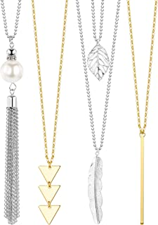Long Pendant Necklace Set, Layer Simple Bar Necklace Tassel Y Strands for Women