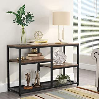 Tribesigns 47 Inch Rustic Console Table, 4-Tier Vintage Sofa Entryway Table TV Stand with Net Storage Shelf for Living Room, Rustic Brown