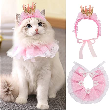 Legendog Cat Bandana for Cats, Princess Cat Costumes for Cats, Cute Lace Dog Bandanas and Cat Crown Accessories for Cats Small Dogs, Pink Outfit for Birthday Party