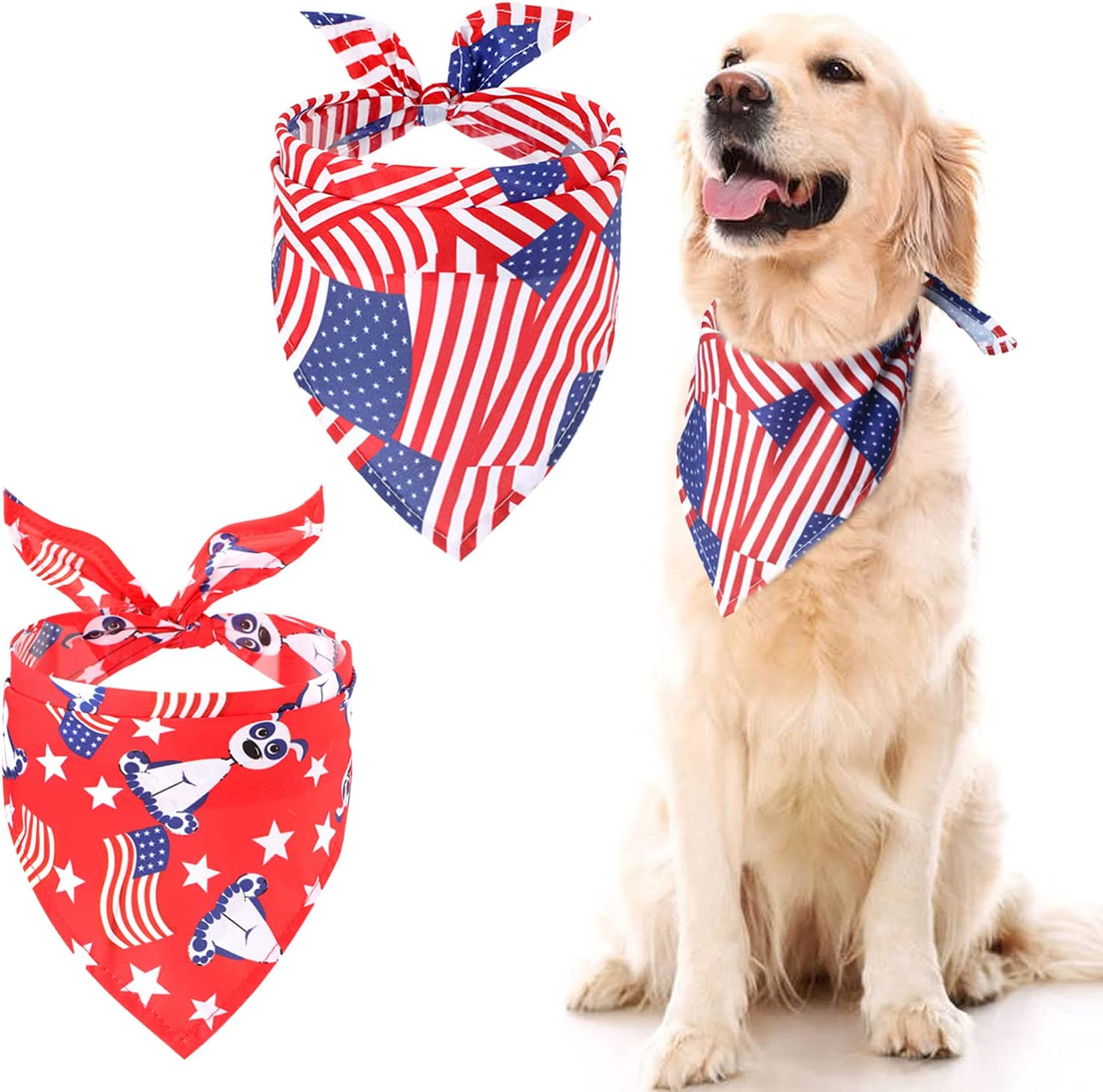 2 Pack American Oakland Mall Outlet SALE Flag Dog Bandana of Breathabl 4th - US July