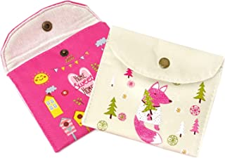 Honbay 2PCS Cute Cartoon Sanitary Napkin Cotton Bag Tampons Bag Storage Organizer Pouch for Women