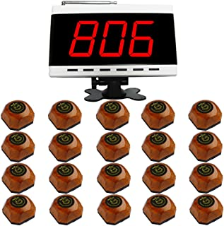 SINGCALL Wireless Restaurant Table Call System, Waiter Caller for Customer Getting Attendant by Pressing a Button, Pack of 1 Display and 20 Bells