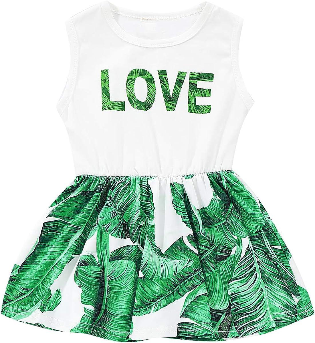 Tianhaik 1-6T Kids Girl Love Leaves Print Dress Casual Sleeveless Fashion Sundress