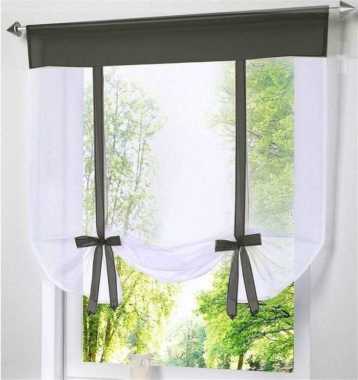 セグメント放射するブーストShiyanghang モダンな窓のカーテンキッチンチュールボイルカーテンリビングルームホーム透明薄手のドレープ (Color : ブラック, サイズ : Buyer size)