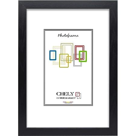 Chely Intermarket, Marco de Fotos Grande 50x70 cm/Negro/MOD-254, Hecho Madera sólida, Ancho de Bastidor 1,20 cm con Acabado Elegante | Marco para títulos y certificados(254-50x70-1,60)