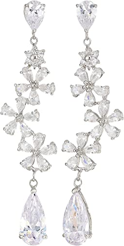 Flower Cluster Long Drop Earrings