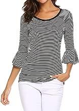 NEARTIME Women Blouse, 2018 Fashion Women Autumn Fashion 3/4 Sleeve Tops Striped Flare Sleeve Slim Clothes T-Shirt