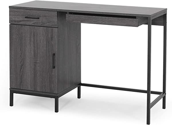 Joy Contemporary Faux Wood Computer Desk Dark Gray And Black