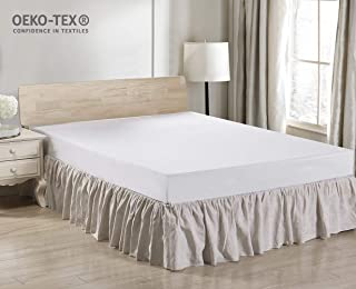 Simple&Opulence Easy Fit Breathable Premium Dust Ruffle with Classic 14 inch Drop Bed Skirt (Pleated-Linen, Queen)