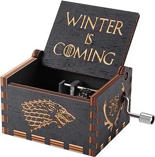 HLZK Game of Thrones Caja de música de madera, manivela antigua Caja de música de madera tallada Mejor cumpleaños