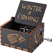 Huntmic Game of Thrones Wood Muisc Box,Hand Crank Antique Carved Wooden Musical Boxes Best Gift for Birthday Christma (Black)