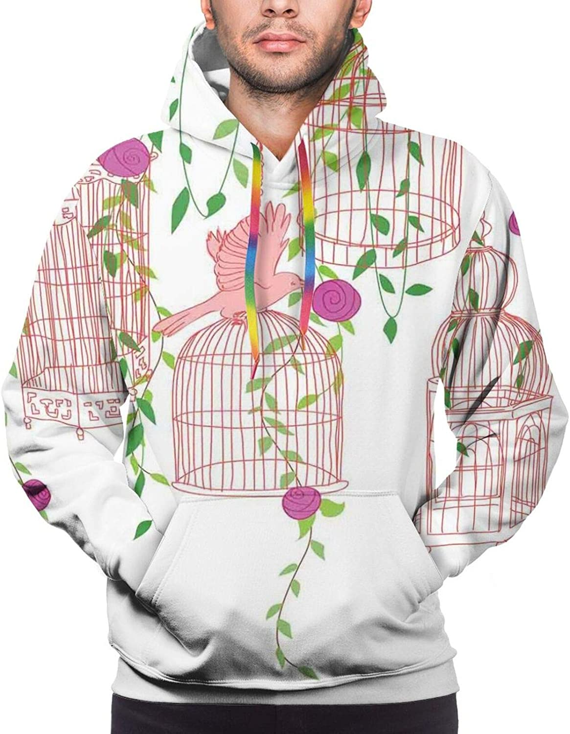 TENJONE Men's Hoodies Sweatshirts,Rose Flowers Leaves Buds Natural Themed Image Soft Toned Abstract Background
