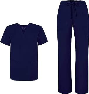 Marc Stevens Unisex Scrub Set MS100 - V-Neck Scrub Top & Tapered Leg Drawstring Scrub Pant - Medical Uniforms Set