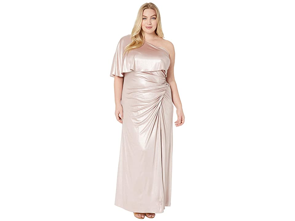 Adrianna Papell Plus Size Metallic Draped Evening Gown (Dusted Petal) Women