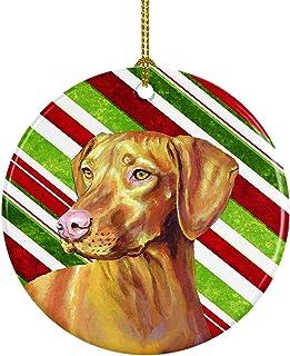 Caroline's Treasures LH9235-CO1 Vizsla Candy Cane Holiday Christmas Ceramic Ornament, Multicolor