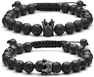 Couple Distance Bracelets Lava Stone Beads Essential Oil Diffuser Adjustable Bracelet with King Queen Crown Charm