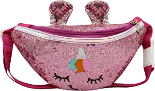 ZGMYC Girls Sparkly Sequins Fanny Pack Waist Bag Cute Unicorn Crossbody Chest Belt Bag for Kids Toddlers