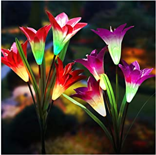 Solar Lights Outdoor - New Upgraded Solar Garden Lights, Multi-Color Changing Lily Solar Flower Lights for Patio,Yard Deco...
