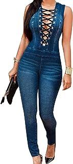 7928052c451 Nuevo Caliente Vaqueros de Mujeres Slim Rompers Bodysuit Pantalones Jeans  Monos Pantalones Jumpsuits para Fiestas de