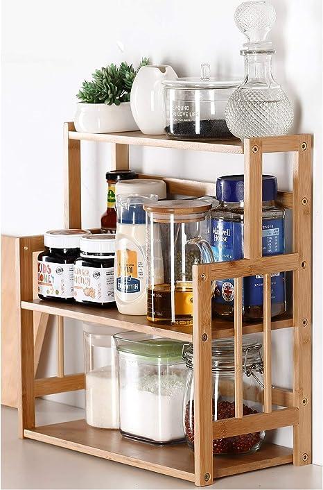 Amazon Com Bamboo Spice Rack Storage Shelves 3 Tier Standing Pantry Shelf For Kitchen Counter Storage Bathroom Countertop Storage Organizer Desk Bookshelf With Adjustable Shelf Cabinet Kitchen Dining