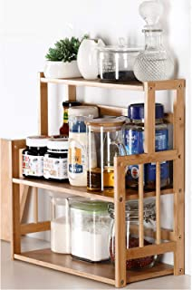 Bamboo Spice Rack Storage Shelves-3 tier Standing pantry Shelf for kitchen counter storage,Bathroom Countertop Storage Org...